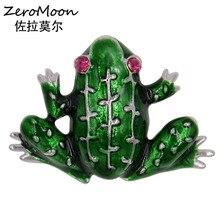Adorable Enamel Frog Brooch Crystal Rhinestone Metal Animal Women Garment Fashion Jewelry Male Accessory