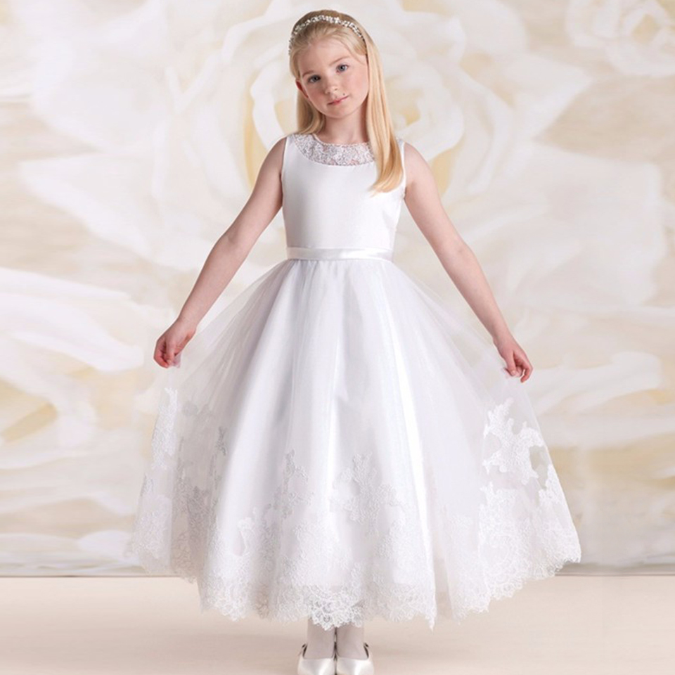 New Beach Wedding Flower Girl Dress Solid Ankle Length O Neck A line ...