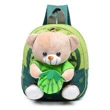 Baby Cartoon Bear Dolls School Bags Applique Kids Plush Toy Backpacks Mini Toddler Kindergarten Book Backpack Bag