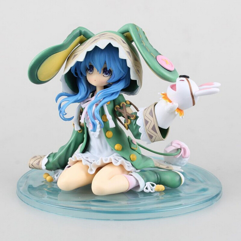 New anime Yoshino Hatsune Miku 15cm pvc action figure green hat rabbit seated four shito is collectible hand model doll
