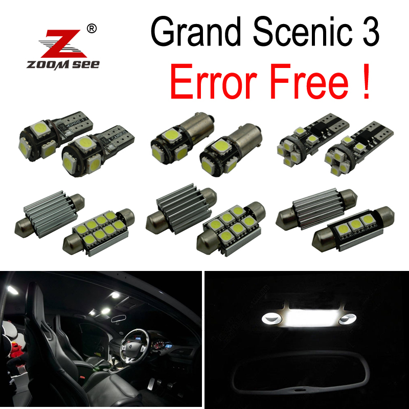 20pc x For 2009-2016 Renault Grand Scenic III 3 MK3 No Error Car LED bulbs Interior Reading dome map trunk door Light Kit 12pcs canbus car led light bulbs interior package kit for 2005 2010 jeep grand cherokee map dome trunk license plate lamp white