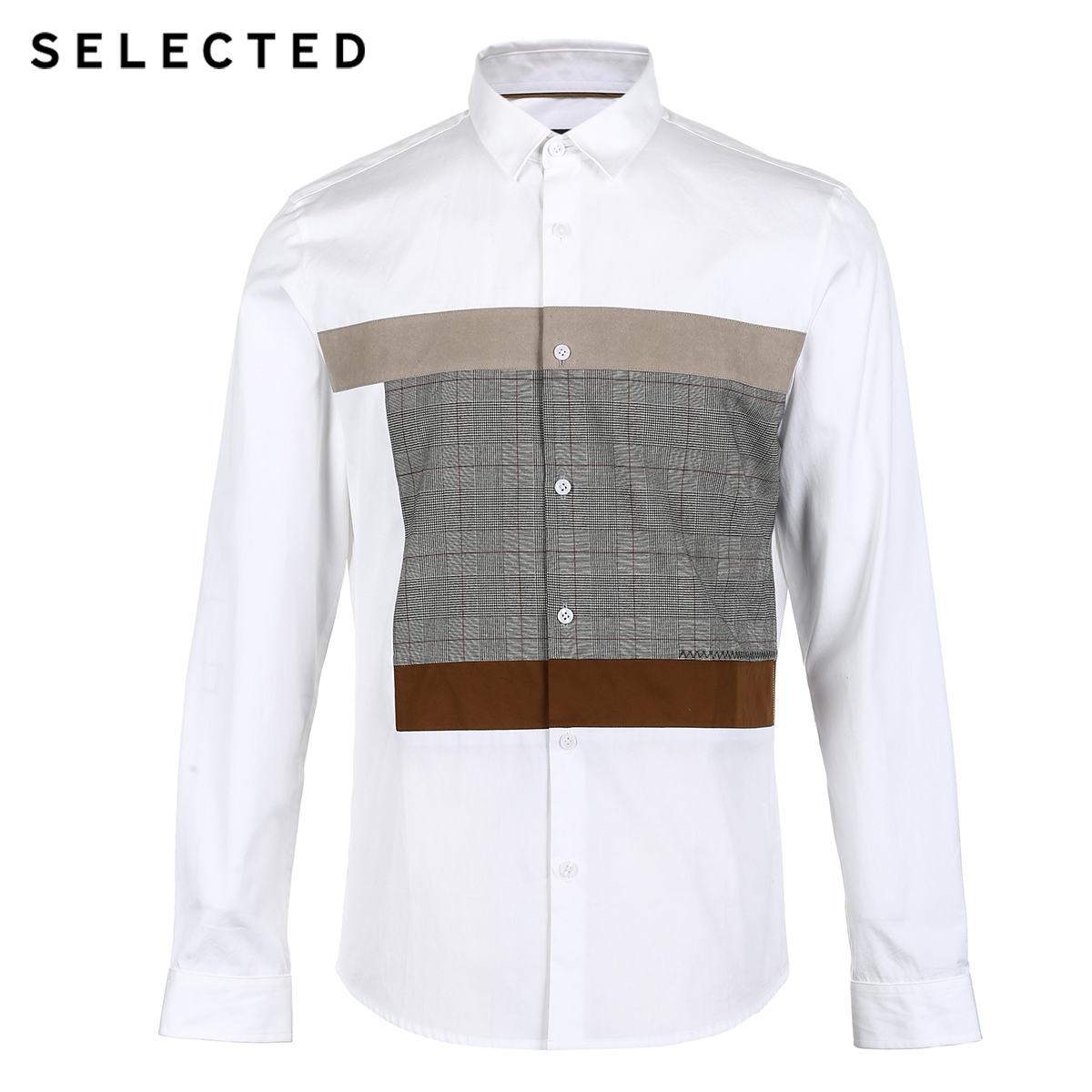 Image 5 - SELECTED New Mens Cotton Lattice Stitching Business Leisure Long Sleeve Shirt S  418405548Casual Shirts