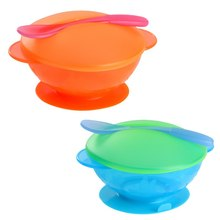 Baby Infant Feeding Bowl With Sucker+Temperature Sensing Spoon+Cover 3Pcs/Set Child Kids Training Bowl Tableware Set 2 Colors