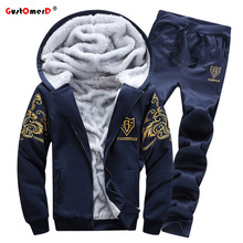 GustOmerD Hoody + Pants 2016 Neue Mode Marke Trainingsanzug Männer Winter Plus Samt Slim Fit Sporting Suit Herren Pullover Und Sweatshirt