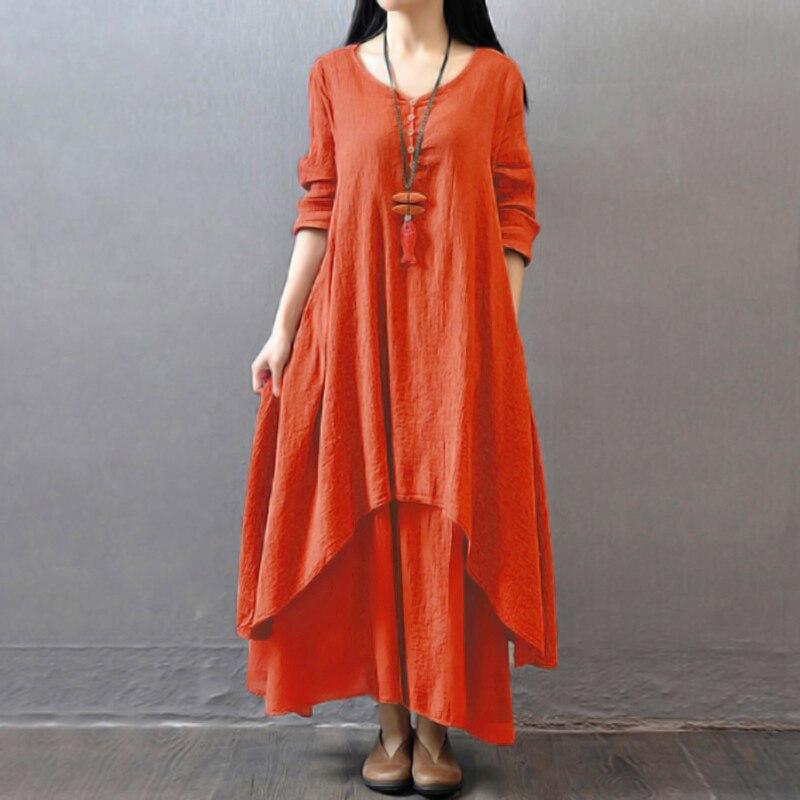 EaseHut Vintage Women Casual Loose Dress Solid Long Sleeve Boho Ethnic Autumn Long Maxi Dresses Plus Size Retro vestido mujer 9