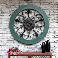 Creative Retro Design Style Home Solid Wood Iron Embossed Flowers Large Round Wall Decorated Decorative Wall