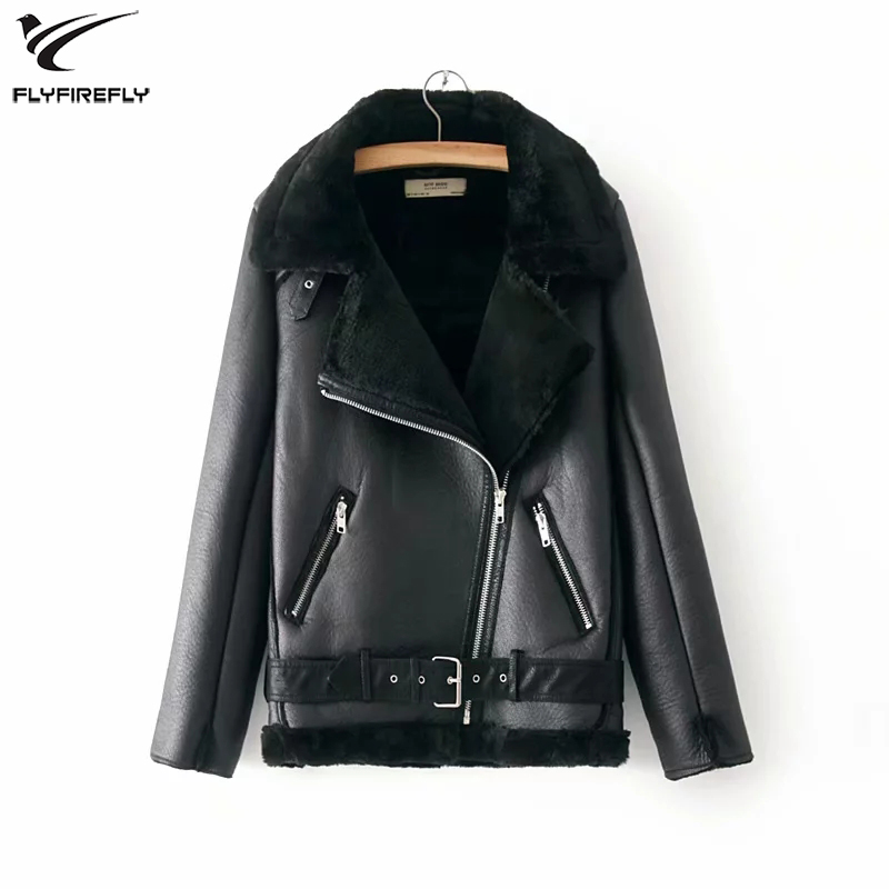 Winter Black Lamb Faux   Leather   Jacket Women PU Jacket Fur Collar   Suede   Jacket Coats Female Warm Thick Motorcycle Outerwear 2019