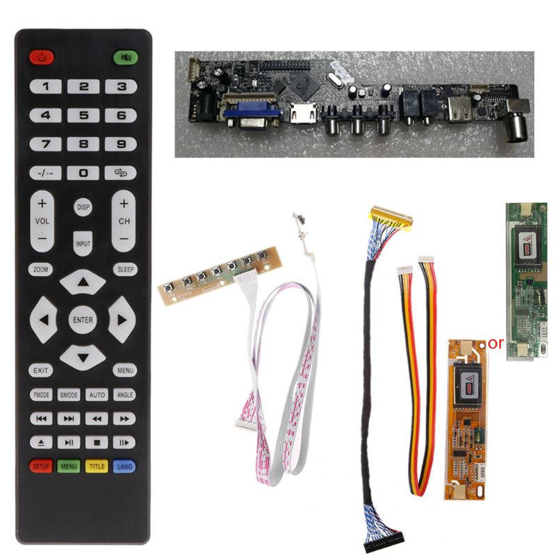 V56 Universal LCD TV Controller Driver Board PC/VGA/HDMI/USB Interface+7 Key Board+LVDs Cable Kit Oct18 Dropship