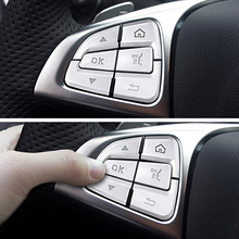 Car Styling Steering Wheel Button Covers Trim Stickers For Mercedes Benz Glc A C Class W205 X253 Cla C177 Gla X156 Accessories