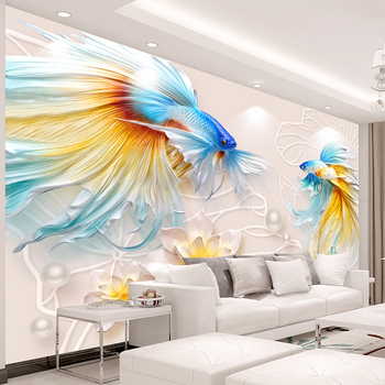 Custom Photo Wallpaper 3D Stereo Relief Fish Large Murals Abstract Creative Interior Living Room Background Decor Wall Painting