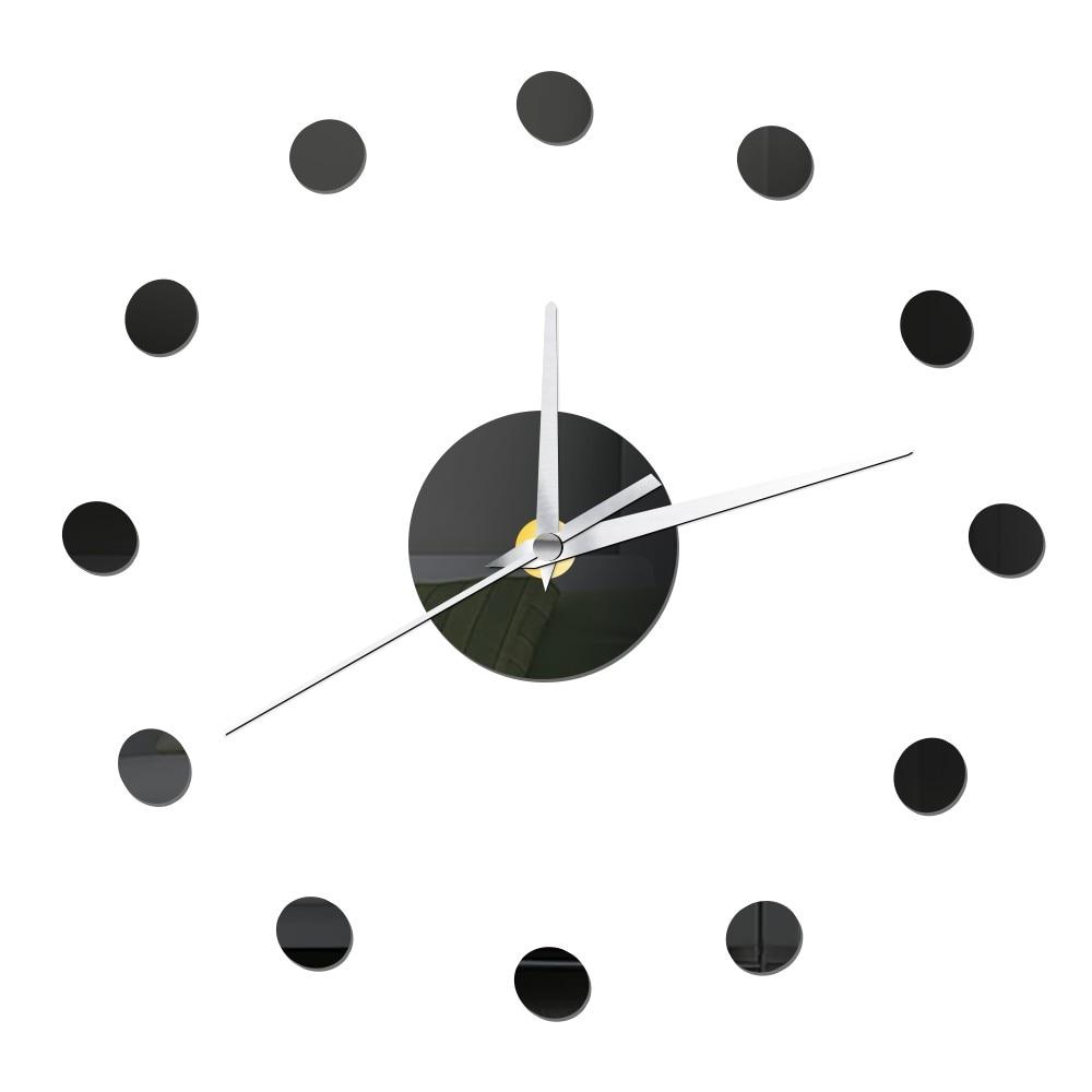 Reloj de pared de puntos pequeños DIY diseño moderno espejo de acrílico  silencioso relojes decorativos de cocina autoadherentes pegatinas de pared  ...
