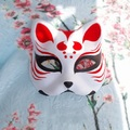 Half Face Hand-Painted Japanese Fox Mask Kitsune Cosplay Masquerade Red Dot Pattern for Party Halloween