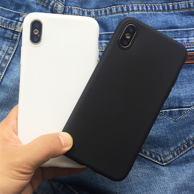 White Black Matte Coque For iPhone 12 11 Pro Xs Max XR X 5 5S SE 2020 6 6S 7 8 Plus TPU Back Cover For iPhone 7 Plus Phone Case 1
