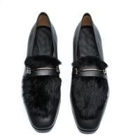 LOUBUTEN New Arrival Men Black Loafers Hot Sale Slip on Leather Shoes Men Dress Shoes With Fur Designer Handmade Men's Shoes