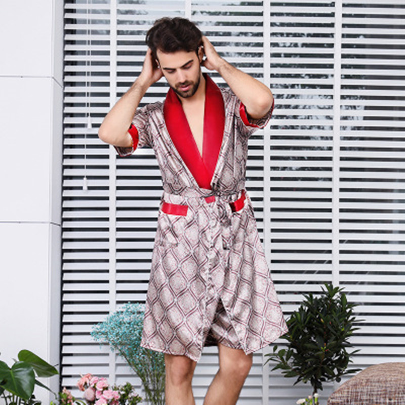 Men Bathrobe Silk Long Robe Sexy Plaid Man Home Sleepwear V-Neck Short Slevess Summer Fashion Gown Pyjamas