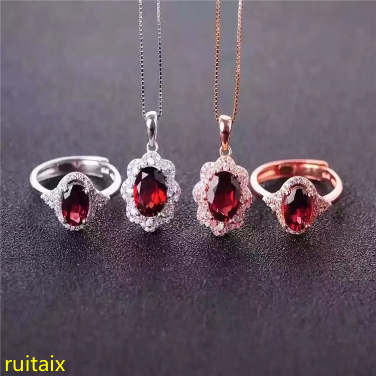 KJJEAXCMY boutique jewels 925 pure silver inlaid natural garnet necklace pendant ring 2 pieces of jewelry.