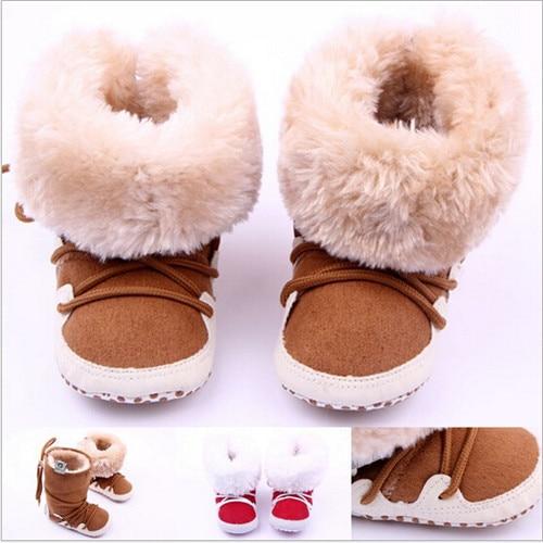 2015 m. Nauja mados žiemos kūdikių avalynė Pirmieji vaikščiojimai dirbtiniai kailiai Naujagimiai šilti batai su minkštais apatiniais kūdikiais