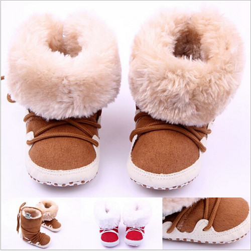 2015 New Fashion Winter Baby Shoes First Walkers Faux Fur Newborn Warm Boots Soft Bottom Infants Snow Shoes