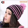 Invierno de las mujeres Cable Knit Pompom Ski Snowboard Beanie Hat