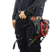 New PU Leather Steam Punk Retro Rock Gothic Shoulder Bags Unisex Leather Waist Fanny Pack Shoulder Bag For Travel Bicycle