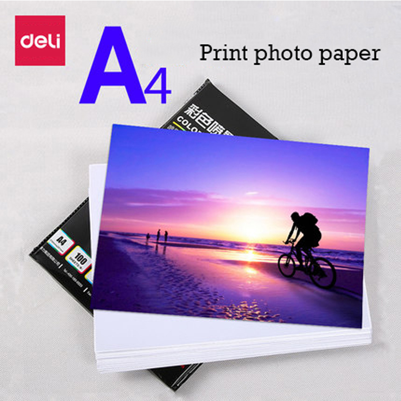 Deli 3545 matt/muted photo paper color ink jet paper A4 128g 100 sheets/bag printing photo paper suitable for inkjet printer