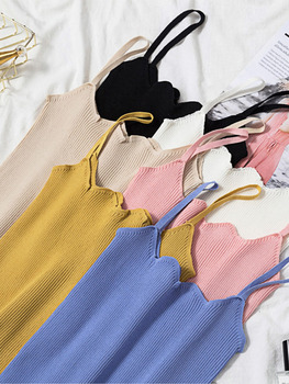 New Spring Korean Knitted Women Vest Woolen Sling Female Cardigan Casual Solid Color Sleeveless Black White Sweater Tops