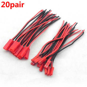 20 Pairs 100mm 2 Pin Connector Plug JST Cable Male/Female Connectors for Rc Model Car Lipo Battery