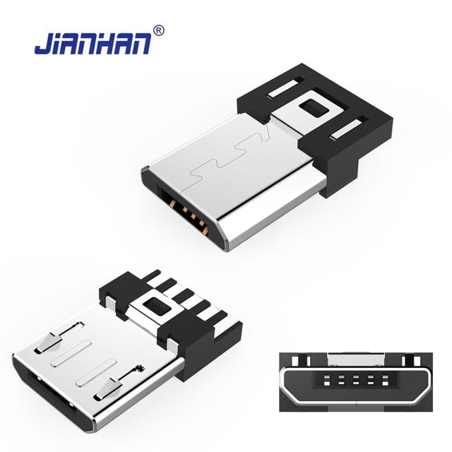 JianHan Micro USB Connector 5 Pin Plug DIY Solder Cable Type ...