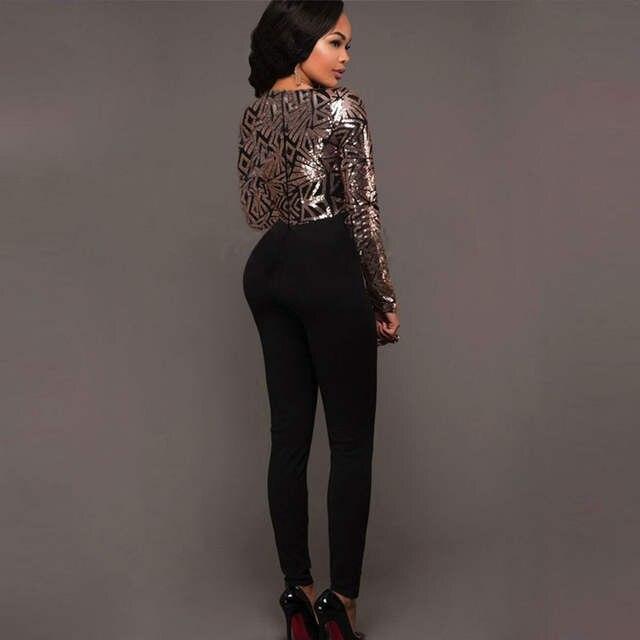 6ed144f2dc6 Online Shop Sequins Jumpsuits Geometric Women Romper Bodysuit Sexy Deep  VNeck Long Sleeve Playsuit Jumpsuit Golden Overalls Evening Jumpsuit