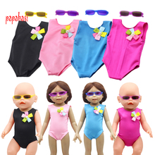 Cute Flower Swimwear Swimsuit Outfit With Sunglasses for 18 American Girl Dolls as fit 43cm Baby
