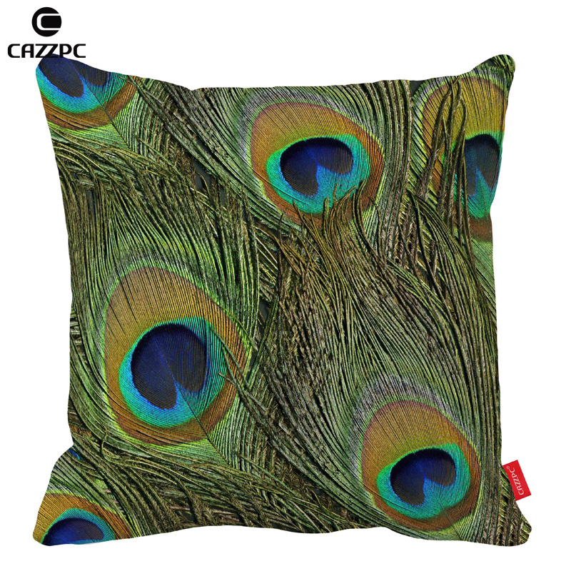 Colorful Green Peacock Gorgeous Feathers Car Decorative Throw Pillowcase Pillow cases Cushion Covers Sofa Chair Home Decor
