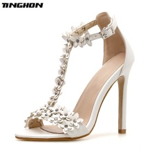 TINGHON Sexy High Heeled Stilettos Wedding Flower Rhinestones Sandals T-Strap Women Shoes Ankle Strap Pointed Toe Party