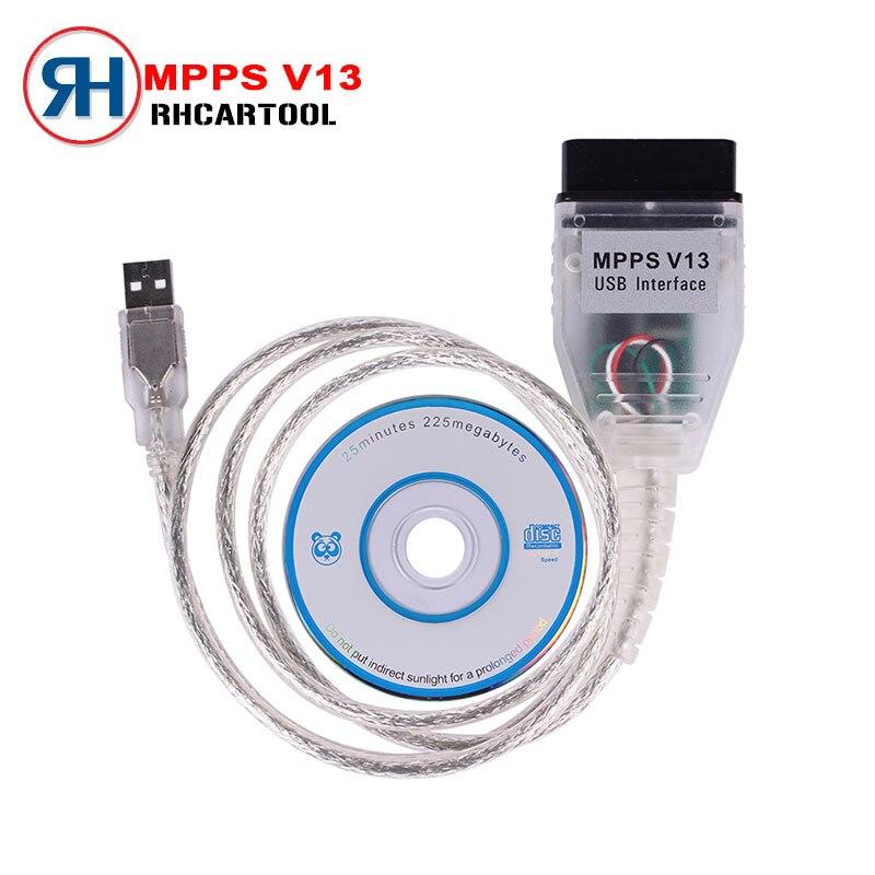 Prix pour 2016 Vente Chaude SMPS MPPS V13.02 V13 K PEUT Flasher Chip Tuning ECU Programmeur Remap OBD2 MPPS V13.02 Professionnel De Diagnostic câble