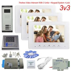 Кнопочная панель управления доступом, видео телефон 3 квартиры, цветной 7-дюймовый монитор для помещения, дверной звонок с камерой + электрон...