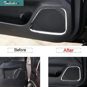 Tonliker 4 Pcs DIY Car Styling New Stainless Steel The Door Speaker Cover Case stickers for Mitsubishi Outlander 2013-16