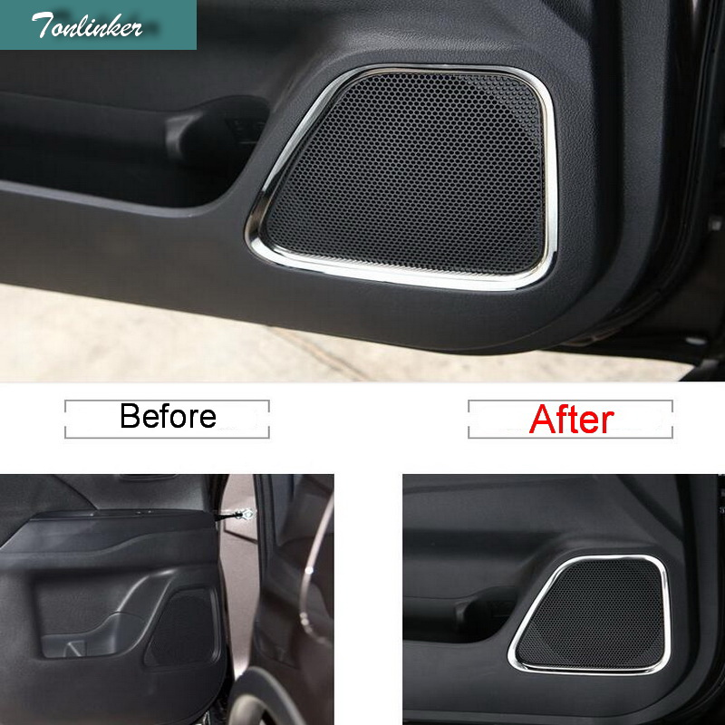 Tonliker puerta interior cubierta del altavoz de la caja pegatinas para Mitsubishi Outlander 2013-19 Car Styling 4 piezas cubiertas de acero inoxidable