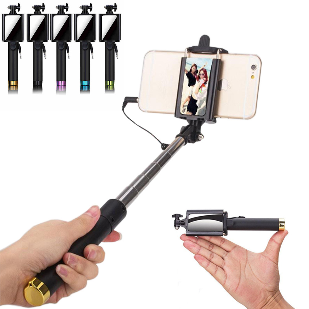 new arrival foldable mini wired selfie stick with mirror 180 820mm extendable. Black Bedroom Furniture Sets. Home Design Ideas
