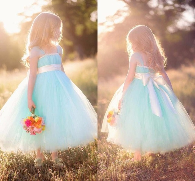 Country Flower Girl Dresses Kids Ball Gown Ribbon Fashion Mint Cheap For Birthday Christmas Party Girls