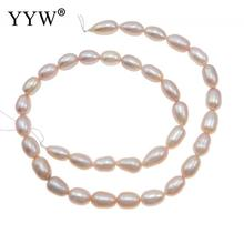 7-8mm Cultured Rice Freshwater Pearl Beads natural pink Grade A Jewelry Beads DIY making Pearl Beads Accessories For Bracelets 10pcs 100% natural pearl full hole cultured freshwater white rice pearl beads 7 8 mm
