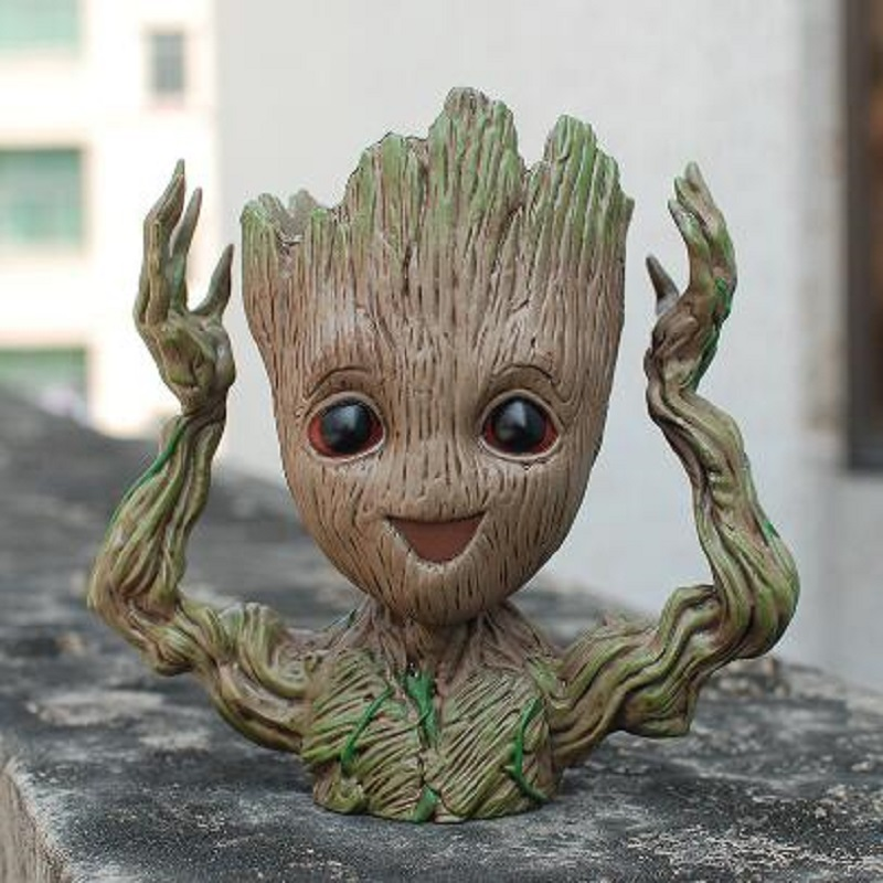 2018 Tree Man smile Grootted hands up Phoneholder Action Figure Guardians of The Galaxy 2 Model pen pot and flower pot Toy