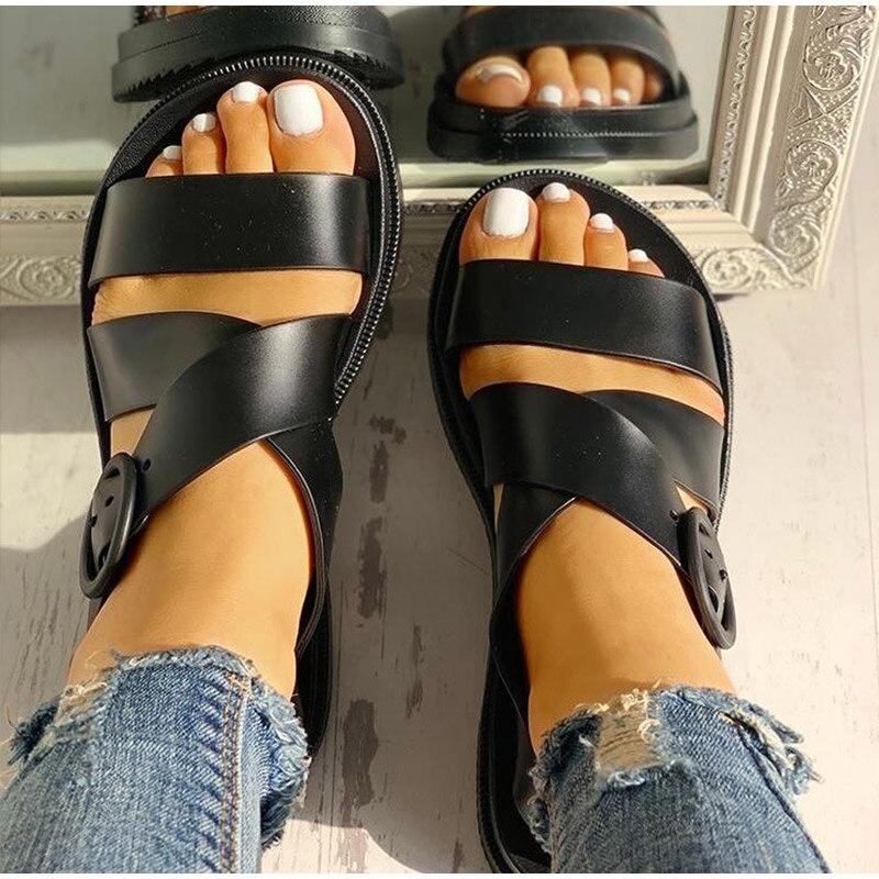 HTB1AXWvR4TpK1RjSZFKq6y2wXXaI MCCKLE Flat Sandals Women Shoes Gladiator Open Toe Buckle Soft Jelly Sandals Female Casual Women's Flat Platform Beach Shoes