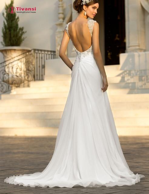 0c31edebd3dae Tivansi Vestidos De Novia Elegant Chiffon Beach Wedding Dresses Sweetheart  Cap Sleeves Bridal Gown Sexy Low Back 2015 TWD67