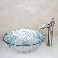 2014 Good Hand Painted Waterfall New Washbasin Lavatory Tempered Glass Sink Bath 425296104 1 Combine Brass