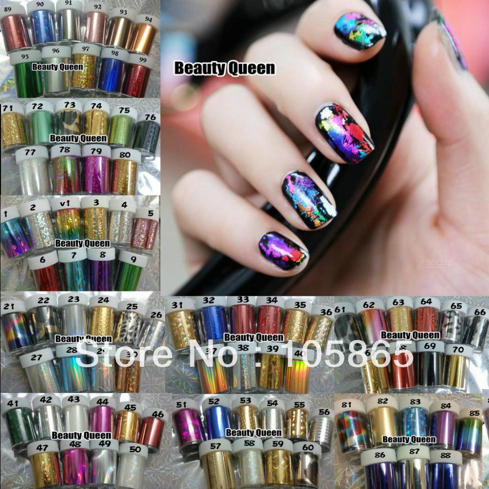 100 Colors MIXED GLITZY Nail Art Transfer Nail Foil Sticker Wrap ...