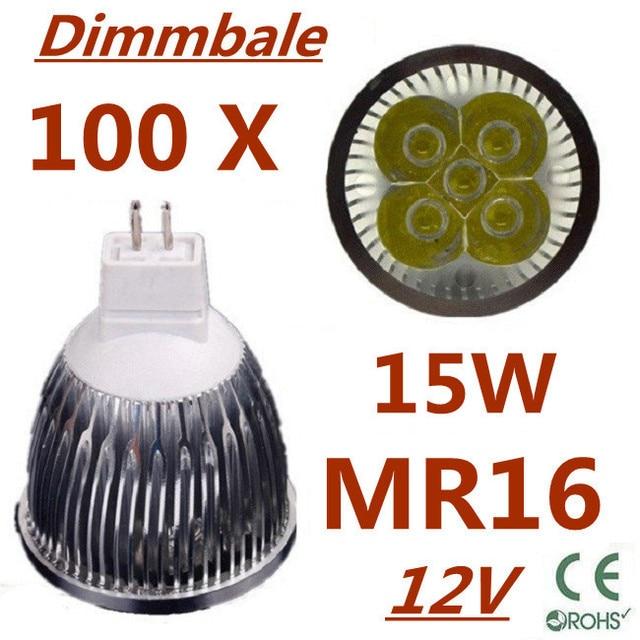 100pcs/lot Dimmable LED High power MR16 5x3W 15W led Light led Lamp led Downlight led bulb spotlight Free shipping