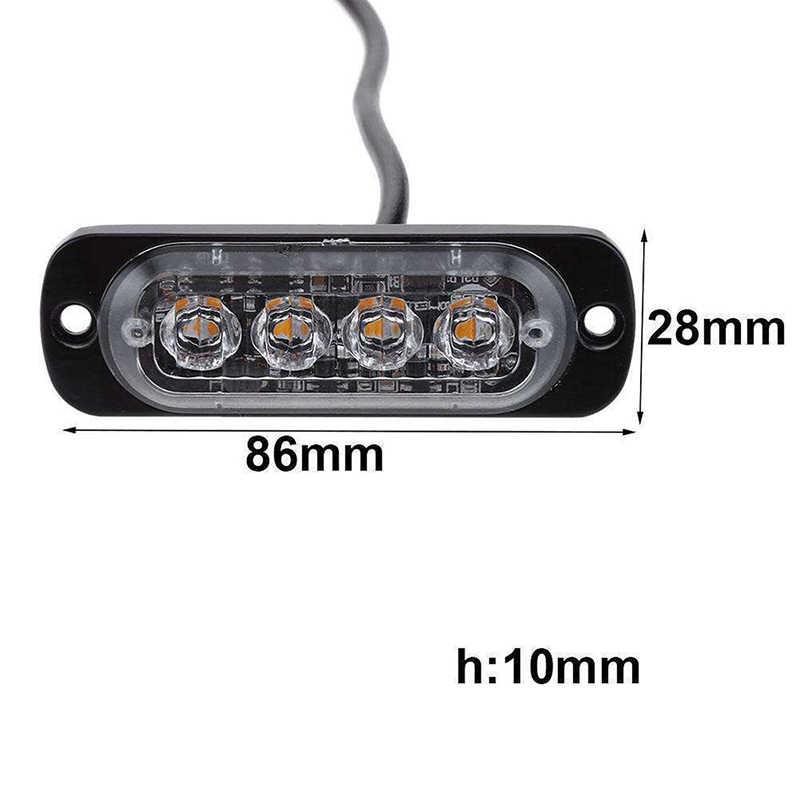 4 Barra de luz LED luz estroboscópica ámbar 12-24 V 8 piezas coche vehículo camión ATV a prueba de polvo