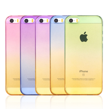 Gradual Change Gradient Color Soft Back Case Rubber Cover For Apple iphone 4 4s 5 5se 5s 6 6s plus 7 7plus For aifon ifon ihone(China)