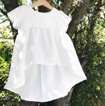 2019 Summer Girl Cotton Linen shirts Baby Girl Fashion Casual Jumper Tops Children White High Quality blouse  bebe clothes