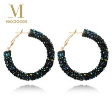 1 Pair Fashion Charm Crystal Hoop Earring Geometric Round Shiny Rhinestone Earring for Women Jewelry(China)