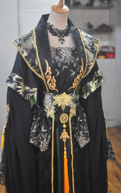 Lie Yun Black Gold Male Female Cosplay Costume Hanfu For Stage Performance Or Photography Sword Men Hanfu